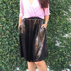 Gold& black velvet lularoe elegant Madison skirt